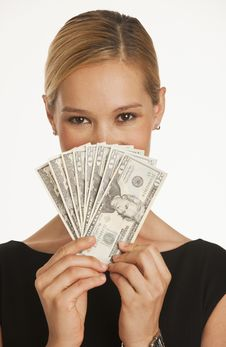 Businesswoman Holding Up Dollars Royalty Free Stock Photo
