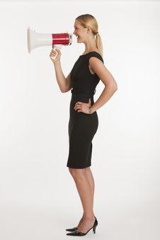 Free Businesswoman Yelling Into Megaphone Royalty Free Stock Photo - 10348475