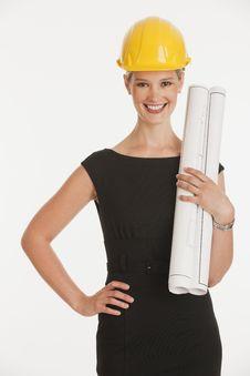 Free Female Architect Holding Blueprints Royalty Free Stock Images - 10348489