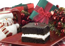 Free Chocolate Layer Cake With Christmas Decorations Royalty Free Stock Image - 10348796