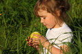 Free Girl In Grass With Green Apple Stock Photos - 10354853