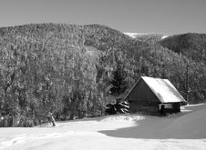 Small Wooden House In Winter Mountains Stock Photos
