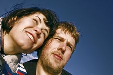 Free Young Couple Smiling Faces Royalty Free Stock Image - 10351196