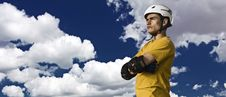 Free Young Man In Helmet And Protective Gear Royalty Free Stock Photo - 10351215