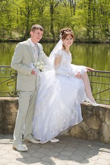 The Groom And The Bride On Lake. Royalty Free Stock Photo