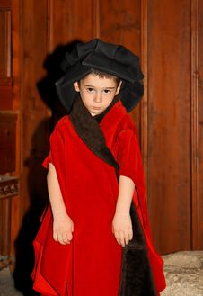 Serious Cute Little Boy In Medieval Costume Standi Royalty Free Stock Photos