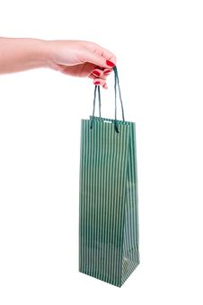Free Hand Holding Green Shopping Bag Royalty Free Stock Photos - 10353948