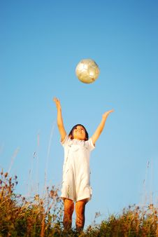 Free Little Cute Boy With Ball Stock Images - 10353964