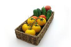Free Yellow Tomatos, Red Tomato, Cuke, Basket Stock Photography - 10353992