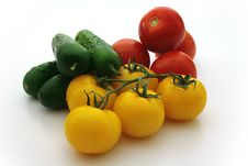 Yellow Tomatos, Red Tomatos, Cucumbers Royalty Free Stock Images