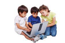 Free Chidren Activities On Laptop Isolated Stock Photos - 10354483