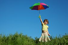 Girl With Multicoloured Umbrella In Hand Royalty Free Stock Image