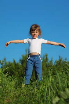 Free Girl Makes Gymnastic In Grass Royalty Free Stock Photo - 10354725