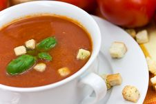 Free Tomato Soup In White Bowl Stock Images - 10354884