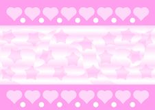 Pink Hearts And Stars Background Royalty Free Stock Photo