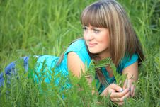 Free Young Beauty Girl Lies In Grass Royalty Free Stock Photo - 10355085