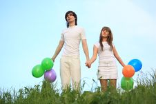 Free Girl And Guy Stand With Balloons In Hands Royalty Free Stock Photo - 10355365