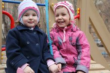 Free Two Smiling Girls On Playground Royalty Free Stock Image - 10355436