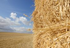 Free Straw Haystack In Harvested Field Stock Photo - 10355550