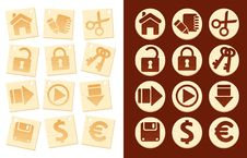 Free Icons On Wooden Background Royalty Free Stock Image - 10357236