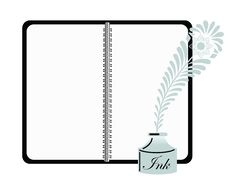 Notebook With Retro Inkwell And Feather Pen Royalty Free Stock Image
