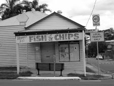 Free Black And White Photo On Fish & Chips Store Signage Stock Images - 103510634