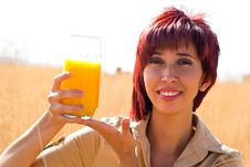 Free Woman Happy With Orange Juice Stock Photo - 10360720
