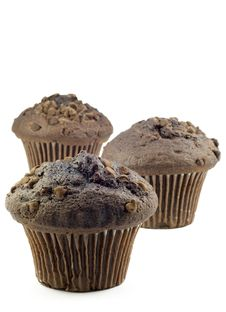 Free Three Chocolate Muffins Royalty Free Stock Image - 10361156