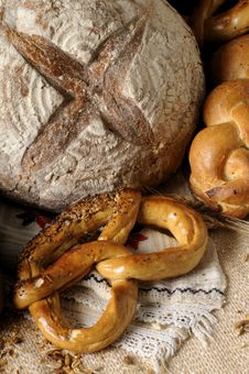 Free Closeup With Bread And Pretzel Royalty Free Stock Photo - 10362525