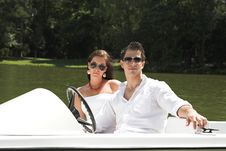 Free Young Attractive Couple On Boat Stock Photo - 10362860