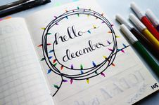 Free Hello December Calligraphy Stock Photo - 103636730