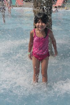 Free Young Girl Playing In Water Royalty Free Stock Photos - 10382778