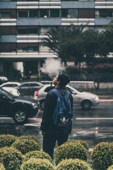 Free Man Wearing Black Jacket And Blue Adidas Backpack Stock Photography - 103823322