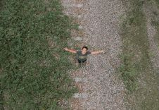 Free Aerial View Of Man In Grey Top And Black Pants Standing Royalty Free Stock Photography - 103823447