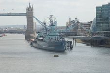 HMS Belfast Battleship Color Royalty Free Stock Photos