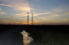 Free Power Lines At Sunset Stock Photo - 1043150