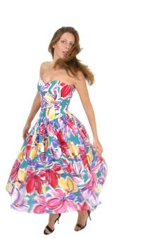 Free Beautiful Woman Spinning In Colorful Dress 2 Stock Image - 1045211