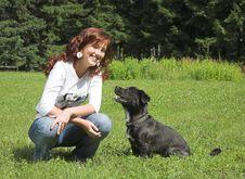 Beautiful Girl Wiht Dog Royalty Free Stock Photos