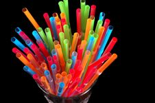 Free Close-up Of Colorful Straws In Clear Glass Royalty Free Stock Photography - 1046937