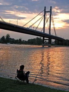 Sunset Fishing Stock Image