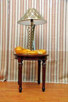 House Lamp On The Wooden Table Stock Photos
