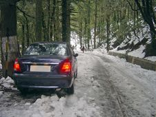 Car Stuck In Snow India Stock Images