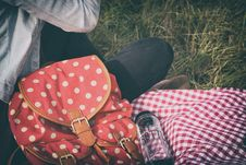 Free Woman S Red With Polka Dot Print Backpack Royalty Free Stock Images - 104366709