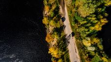 Free Aerial Photography Of Road Between Trees On Body Of Water Royalty Free Stock Image - 104450106