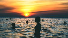 Free Silhouette Photography Of People Swimming On The Beach During Golden Hour Stock Images - 104450164