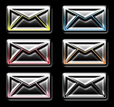 Glossy Mail Icons Stock Photo