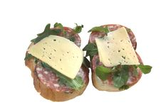 Two Sandwiches With Salami Sausage Royalty Free Stock Photo