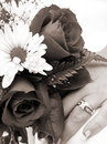 Free Bride S Wedding Ring Hand And Bouquet Closeup Sepia Stock Images - 1050914