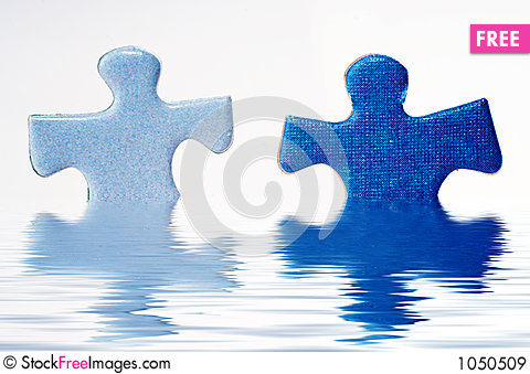 Puzzle in water Stock Photo