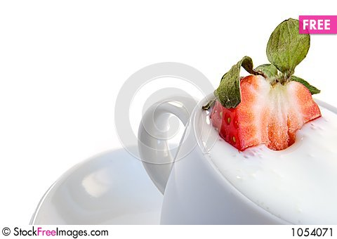 Free Strawberry And Sour Cream Stock Image - 1054071